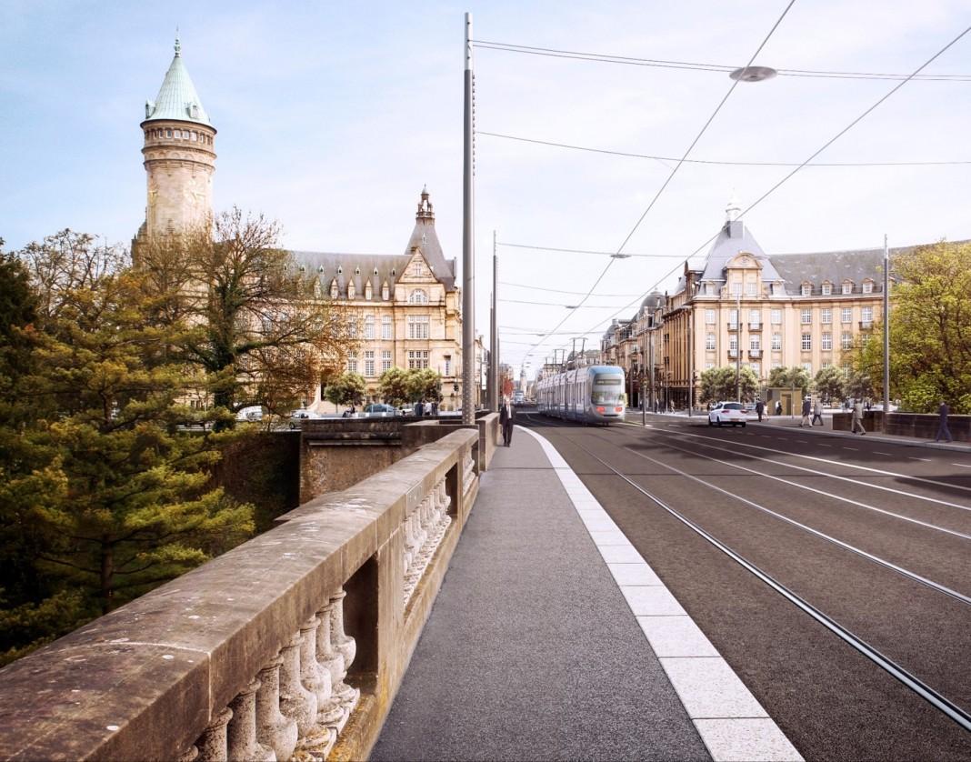 Vue Place de Metz Pont Grand Duc Adolphe